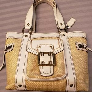 Coach Woven Straw & Leather Legacy Tote #113